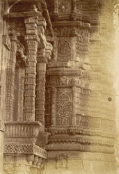 Detail of carved work of panels in the minarets of the Nagina Masjid, Champaner. 824